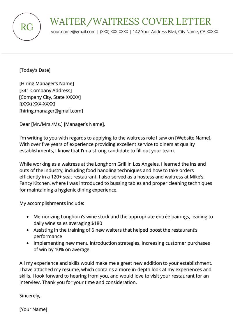 Waiter Waitress Cover Letter Example Template