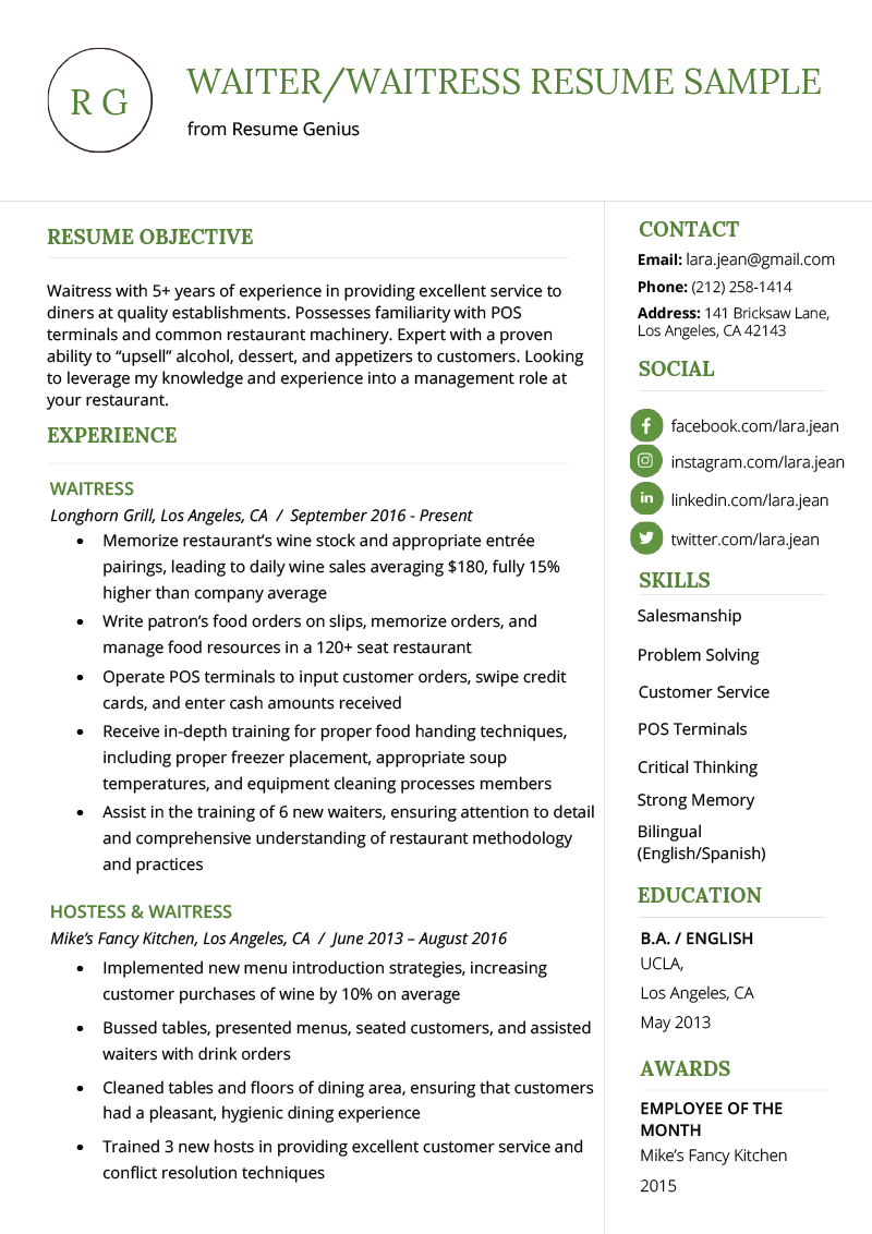 Waiter Waitress Resume Example Template