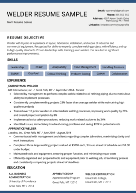 Resume Welder View Example