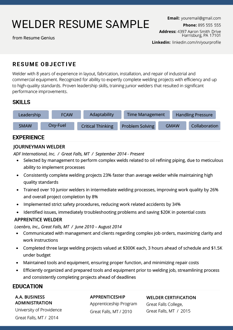 welder resume example  u0026 writing tips