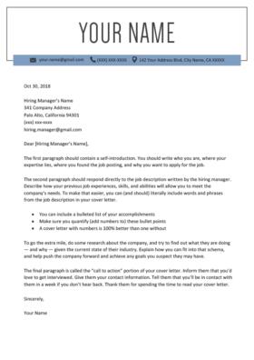 windsor blue cover letter template design