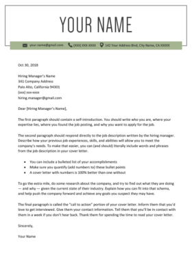 windsor olive cover letter template design