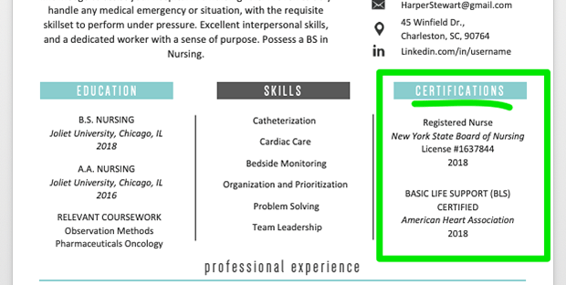 example of certifications in a resume, entry-level nurse