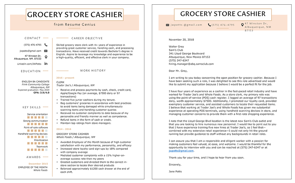 grocery store cover letter resume sample side by side screenshot