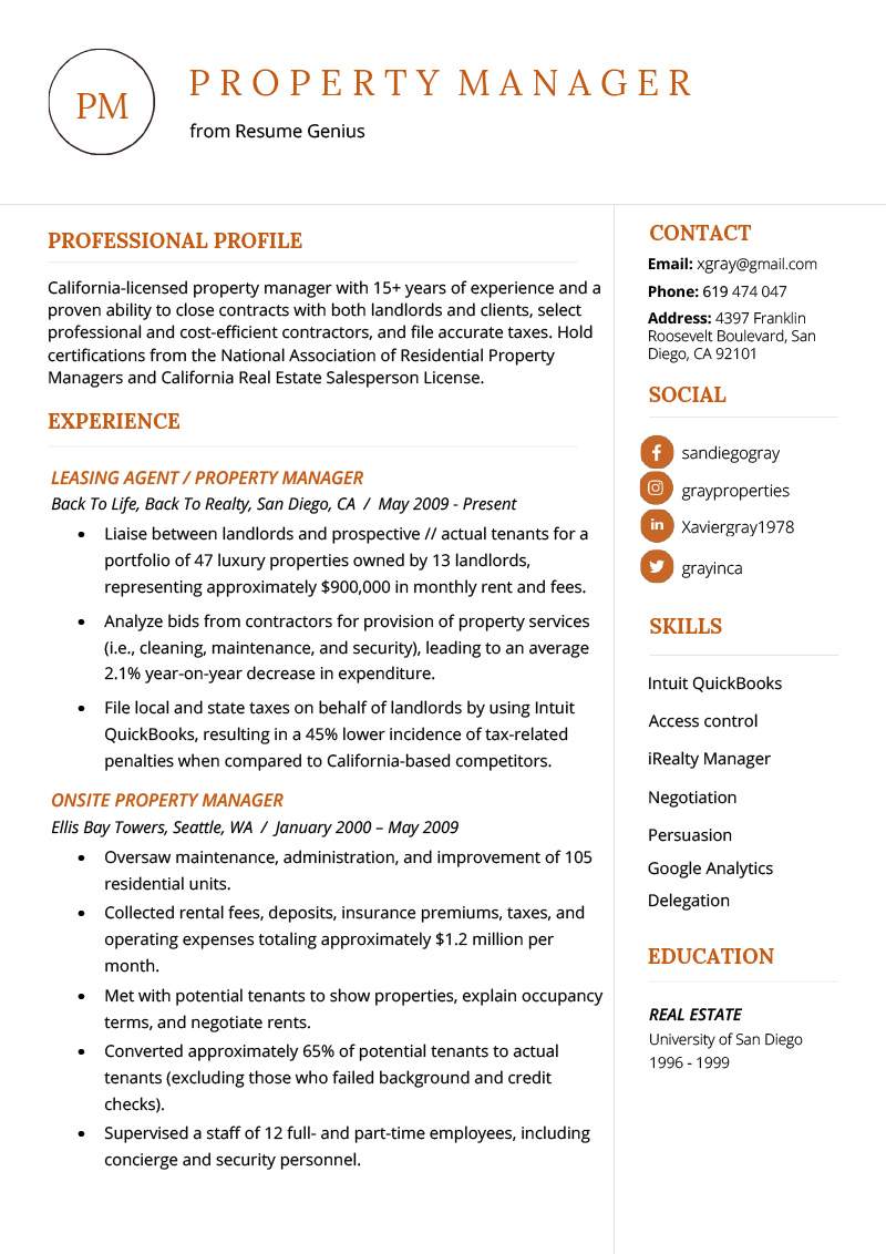 Property Manager Resume Example Template