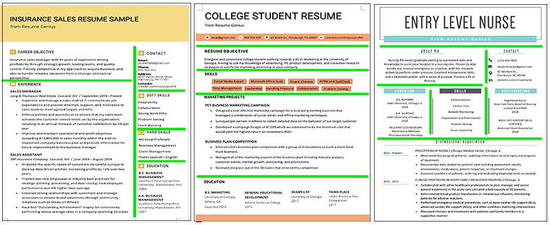 photoshopped image of three styles of resume lines