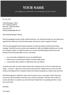 Original 2019 Cover Letter Template
