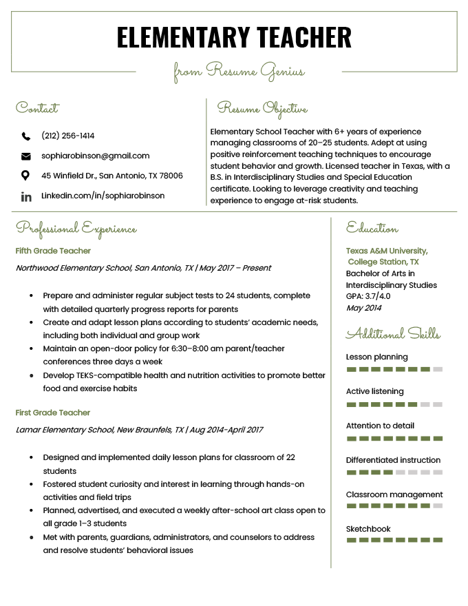 Elementary-Teacher-Resume-Example-Template Sample Application Letter For Work Experience on summer job, for training, for graduation,