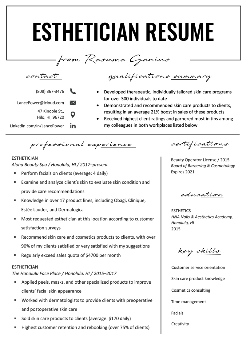 Esthetician Resume Example & Writing Tips | Resume Genius