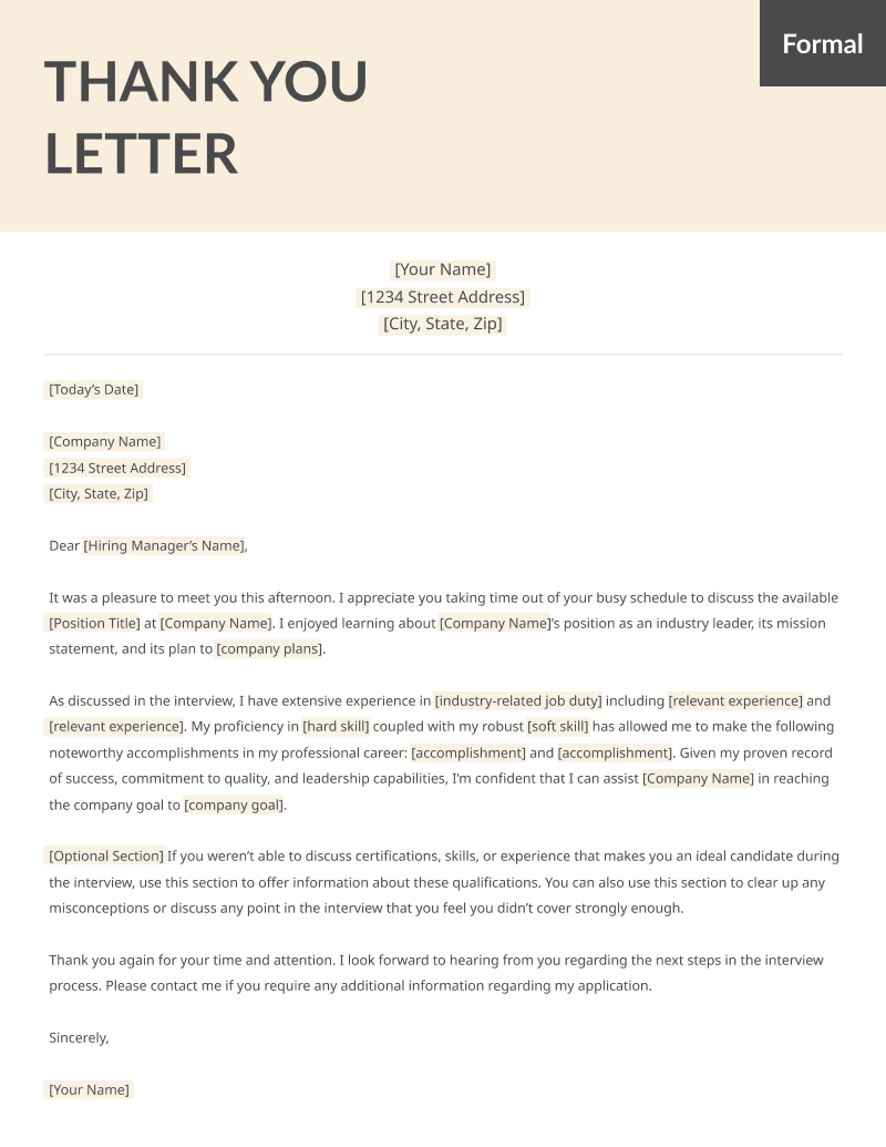 Personal Thank You Letter | After Interview Thank You Letters Samples Free Ms Word Templates