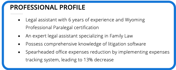 Screenshot of legal assistant's professional profile