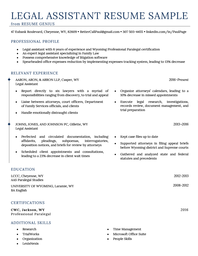 Legal Assistant Resume Example