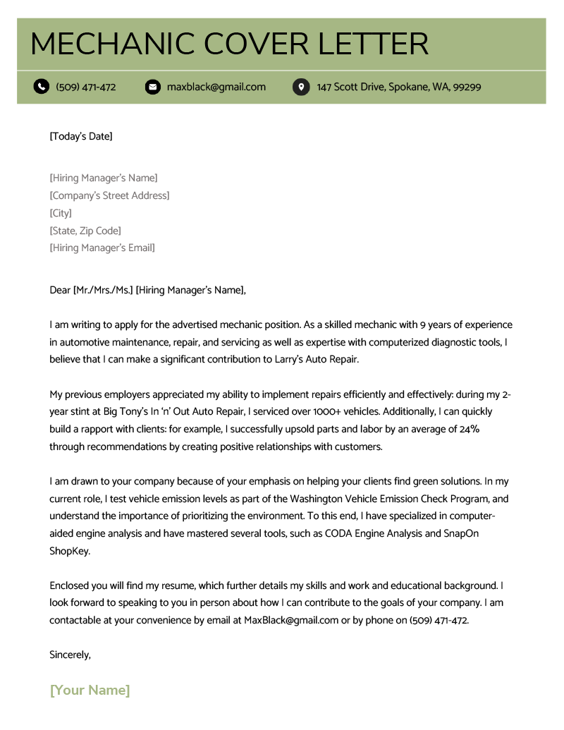 Mechanic Cover Letter Example Template