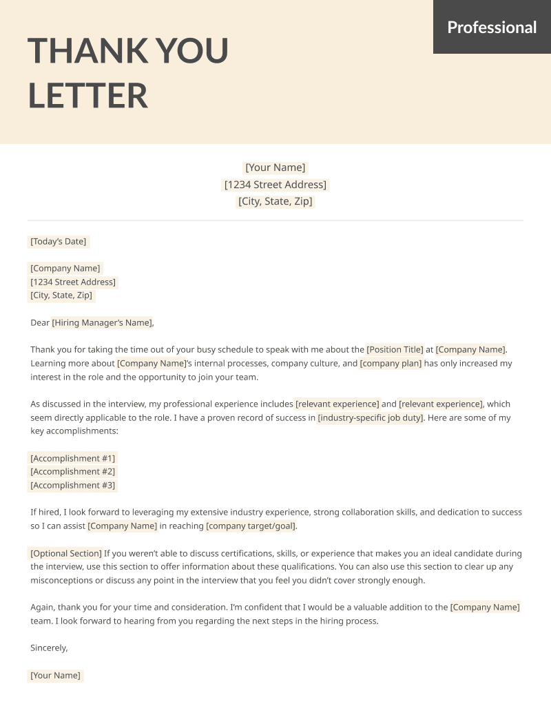 Free Sample Thank You Letter from resumegenius.com