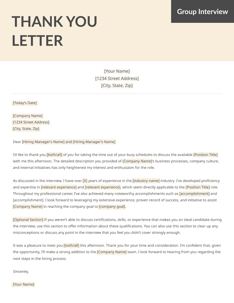 Thank you for interview letter example free