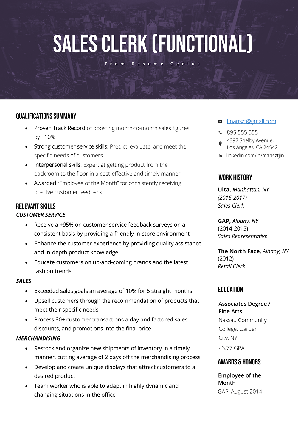 Sales Clerk Example Of A Clerks Functional Resume