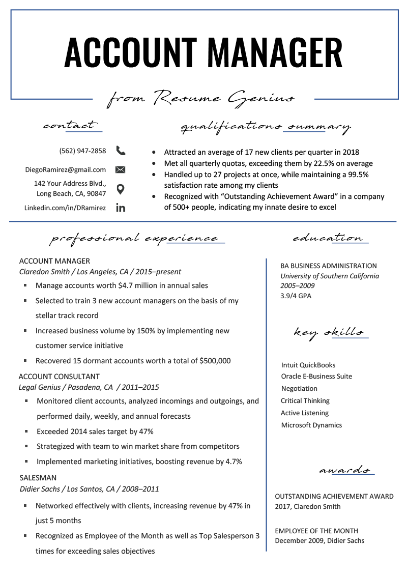 Account Manager Resume Sample & Writing Tips | Resume Genius