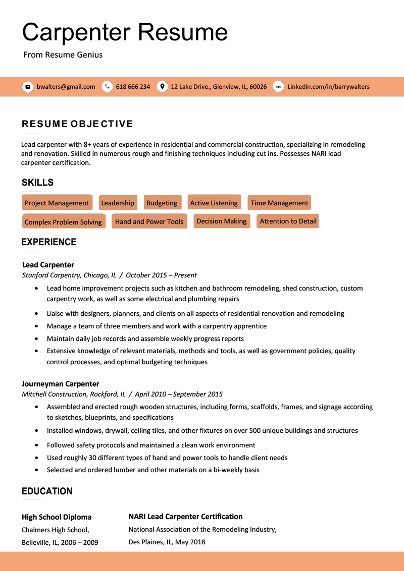 Carpenter Resume Sample & Writing Tips | Resume Genius