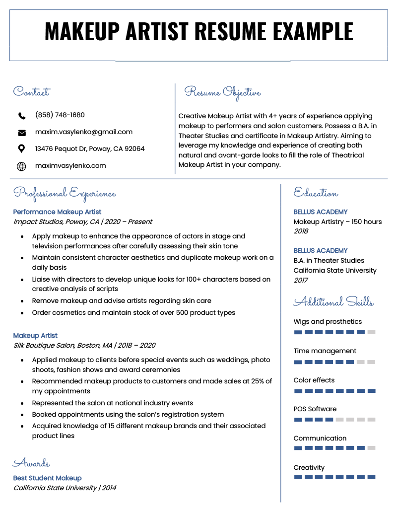 makeup artist resume sample  u0026 writing tips