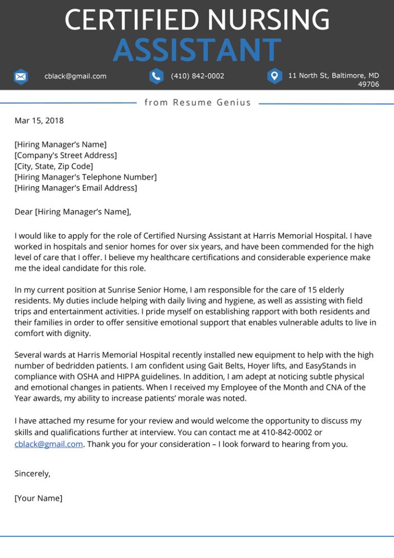 Certified Nursing Assistant (CNA) Cover Letter | Resume Genius