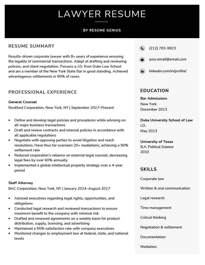 Lawyer Resume Sample Amp Writing Tips Resume Genius
