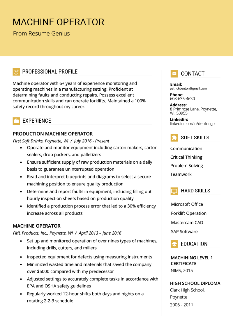 Resume template for a machine operator