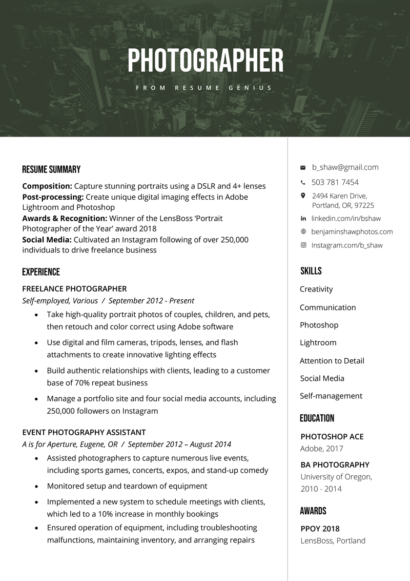 Photographer Resume Sample & Writing Tips | Resume Genius