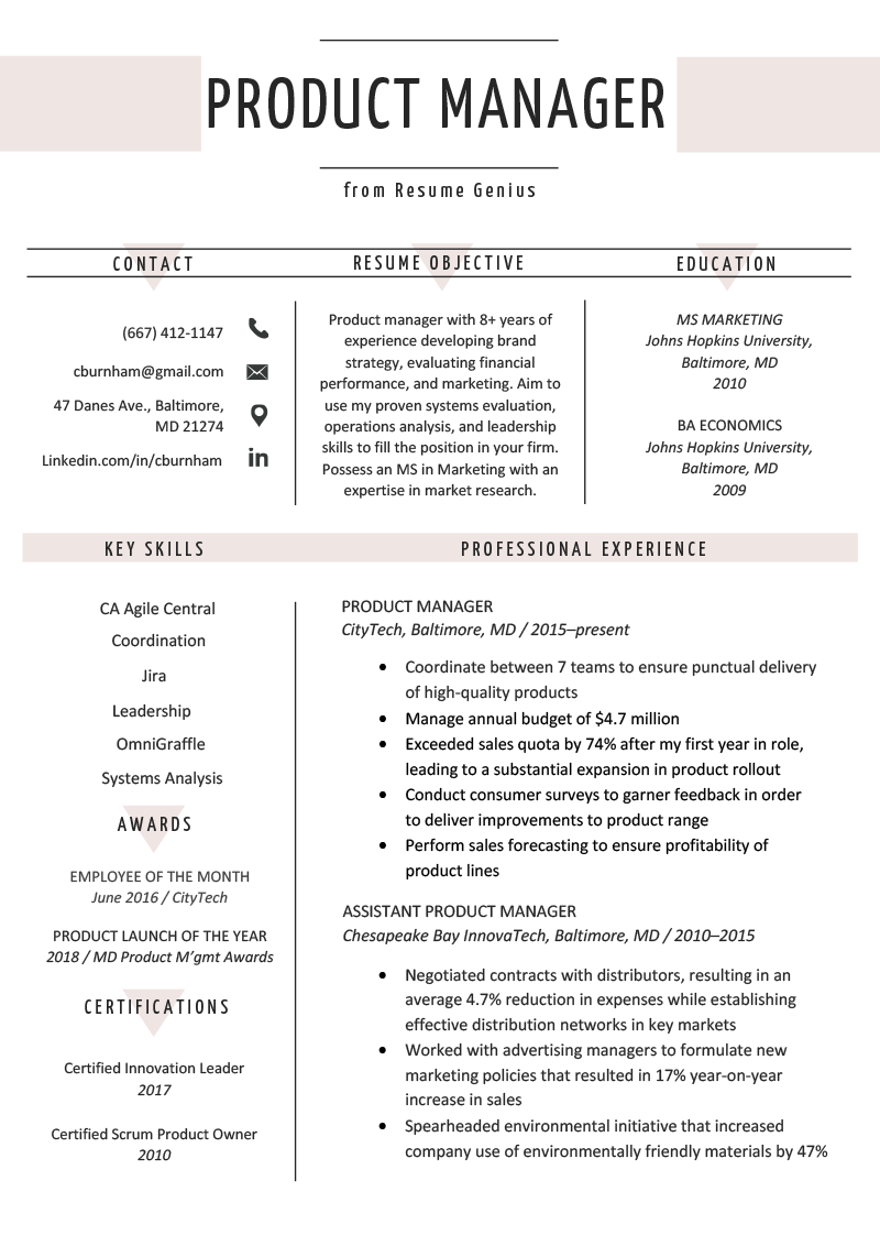 Product Manager Resume Sample Amp Writing Tips Resume Genius