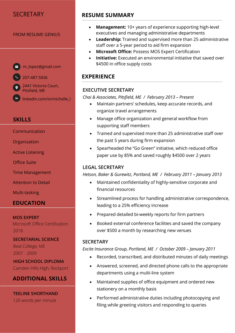 Secretary Resume Sample Amp Writing Tips Free Download Rg