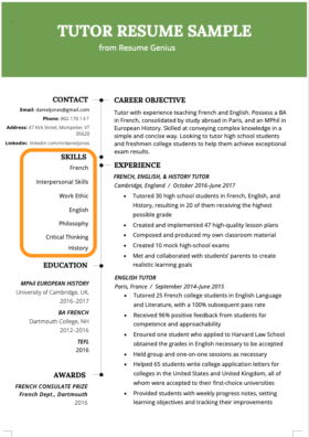 skills for resume highlighted in a tutor's skills section