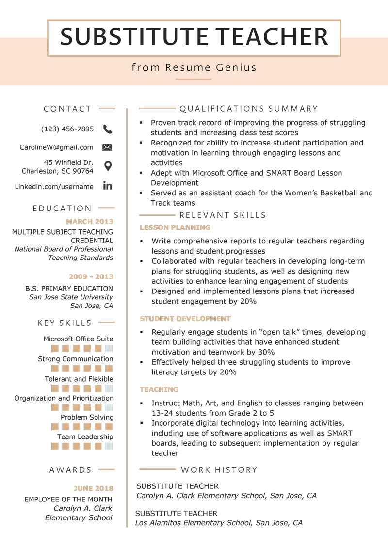 Substitute Teacher Resume Samples & Writing Guide | Resume ...