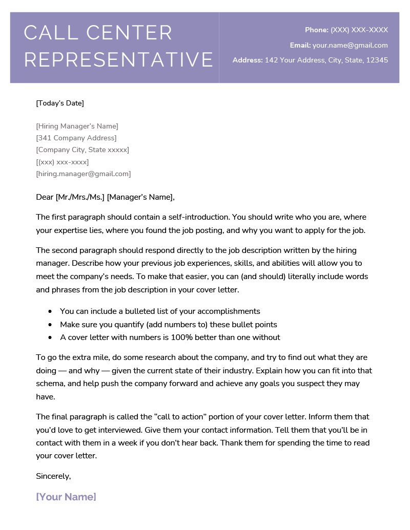 call-center-representative-cover-letter_stylish-purple-blue Teacher Letter Of Resignation Template on simple sample, 30 days notice, best professional, fill blank, 2 weeks notice,