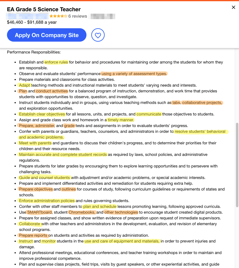EA Grade 5 Science Teacher job listing, taking from Indeed.com on June 2nd, 2019