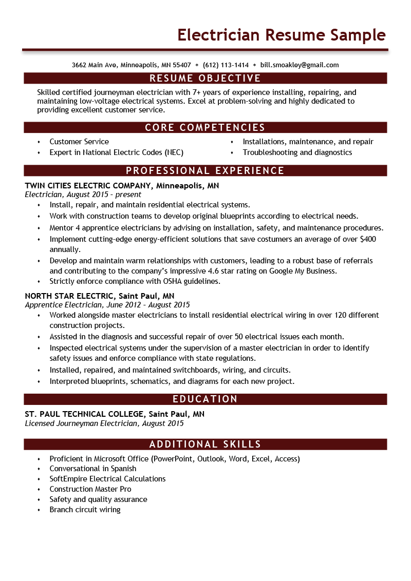 electrician resume sample  u0026 expert writing tips