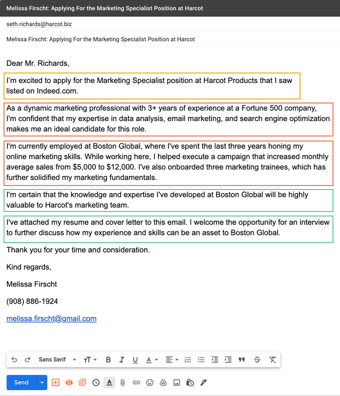 Sample email cover letter format