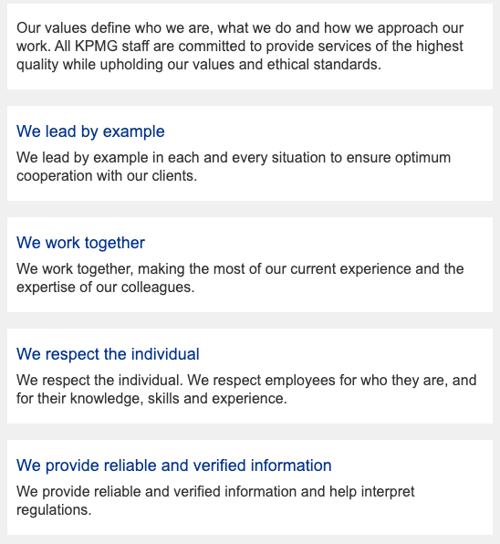 KPMG's corporate values