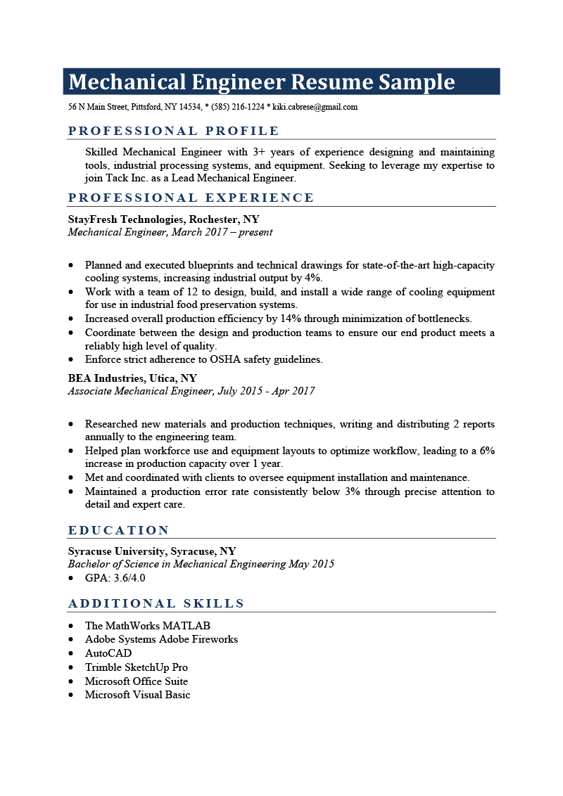Mechanical Engineer Resume Example.Mechanical Engineer Resume Sample Writing Tips Resume Genius