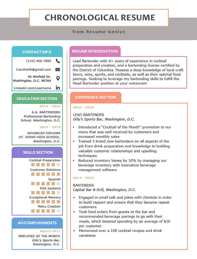 Chronological Resume Template Examples Writing Guide