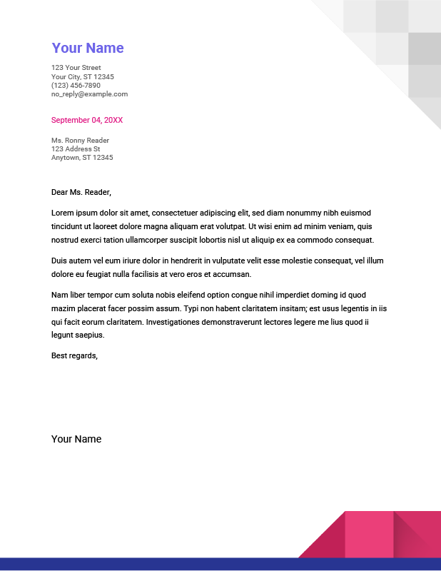 Geometric Google Docs Cover Letter Template