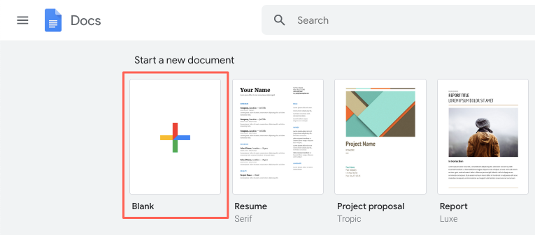 How to open a new document in Google Docs