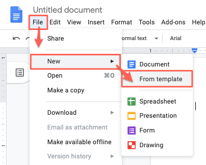 How to open the templates menu in Google Docs