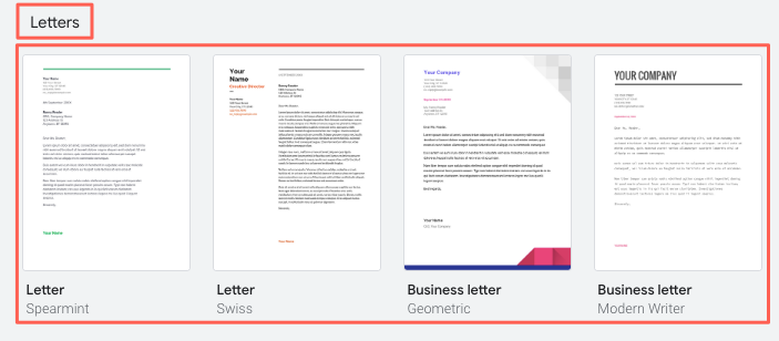 The full gallery of Google Docs cover letter templates