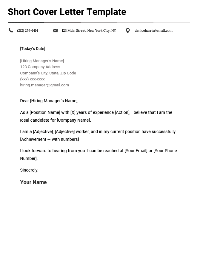 short cover letter examples  how to write a short cover letter