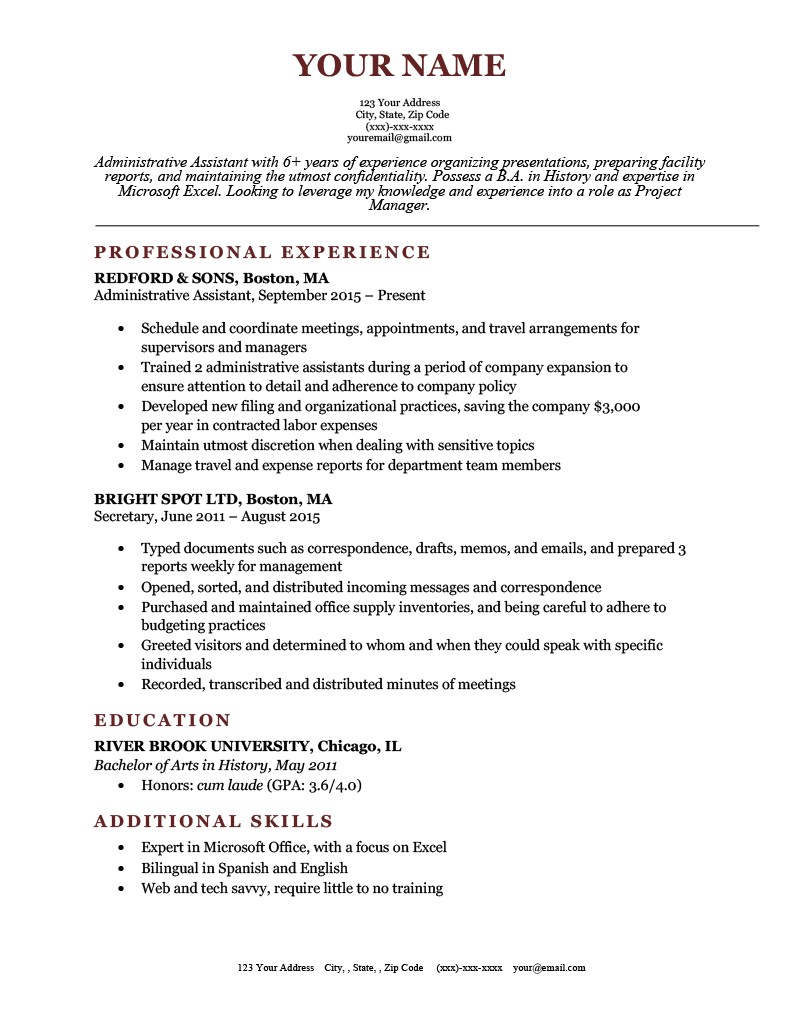 Classic Resume Template for Google Docs