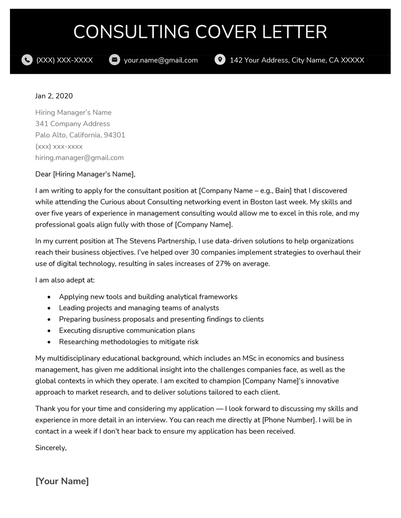 Consulting Cover Letter Template from resumegenius.com