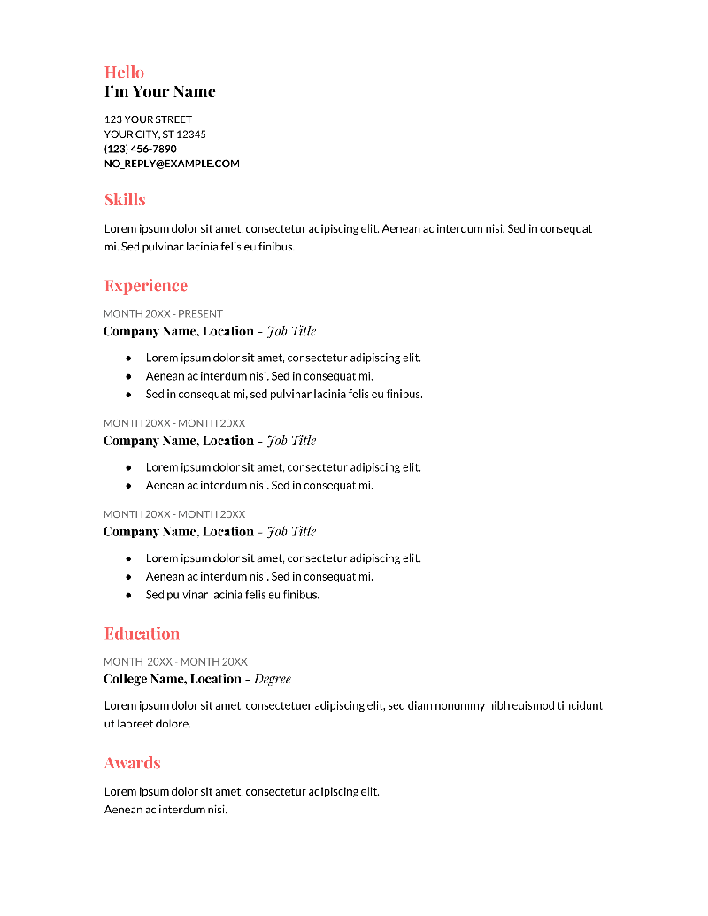 Coral Resume Template for Google Docs