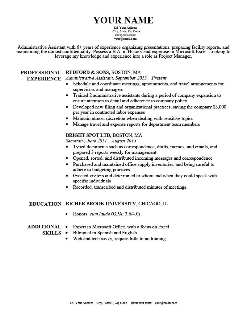 Harvard Google Docs resume