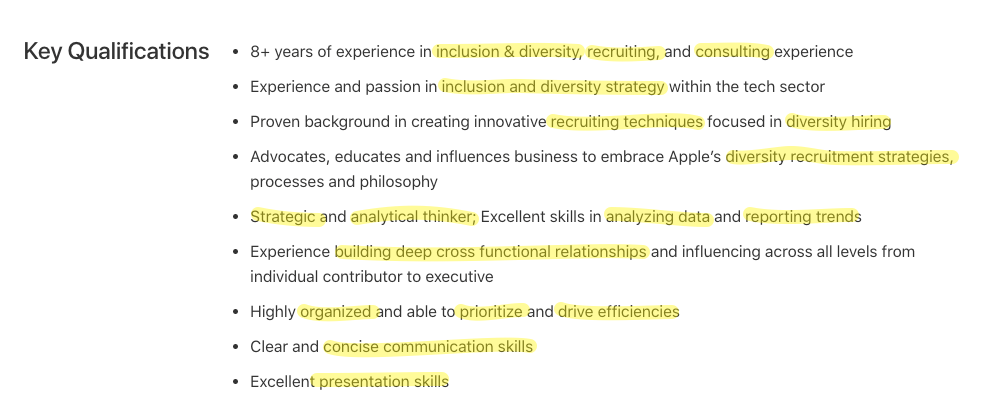Job description for Apple role with keywords highlighted