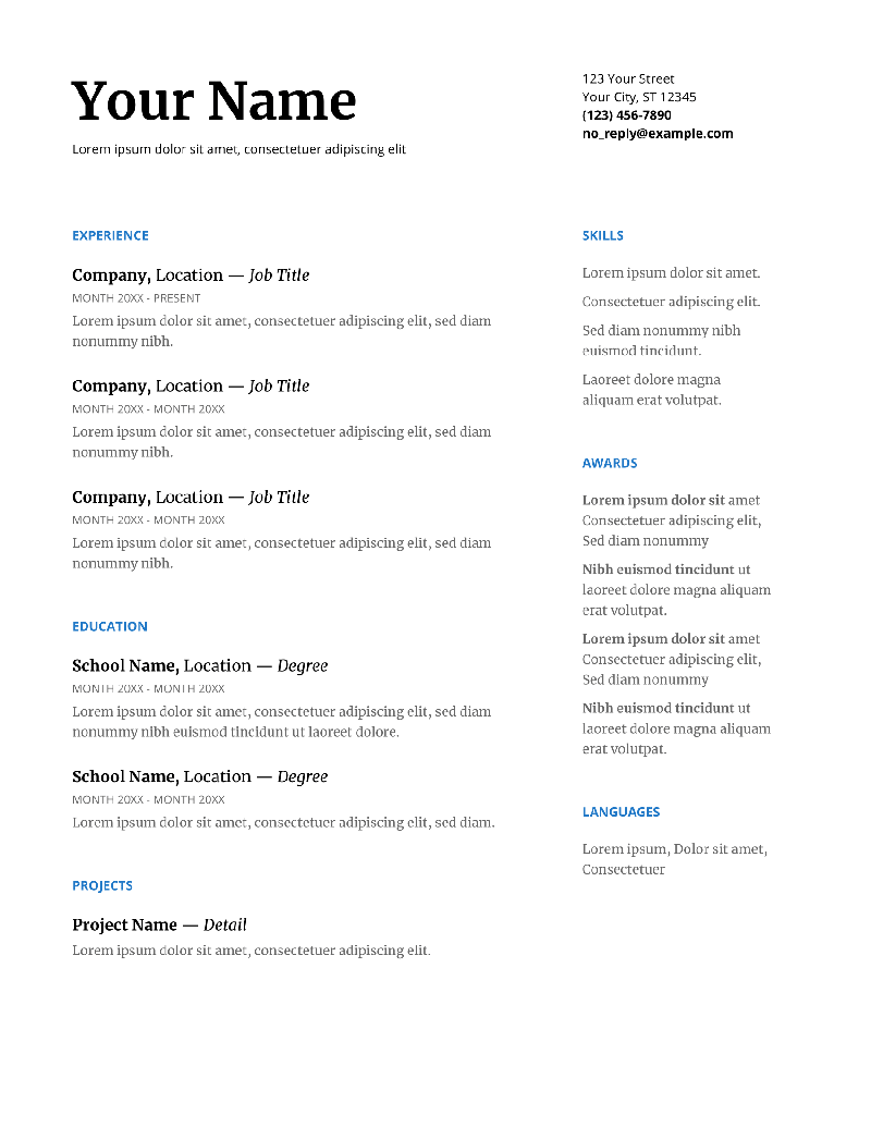 Serif Google Resume Template