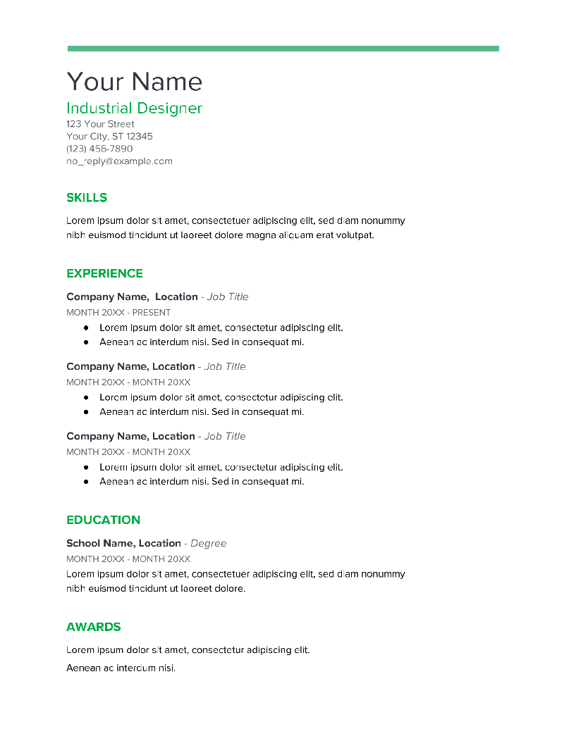 Spearmint Google Docs Resume Template